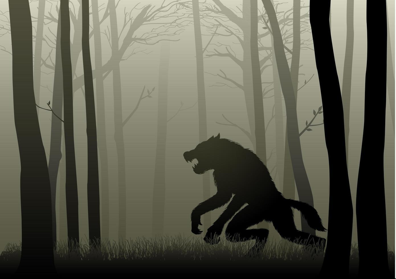 loup-garou dans les bois sombres vecteur