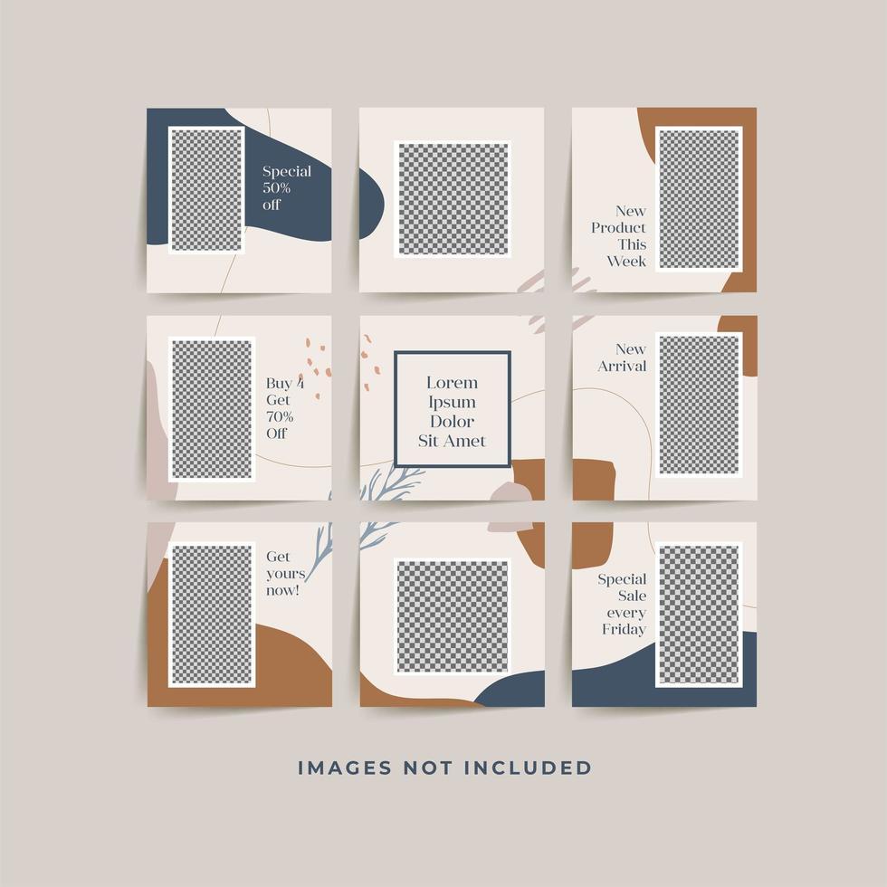 Modèle de poste de grille de cadre de puzzle de médias sociaux pour la promotion de vente de mode vecteur