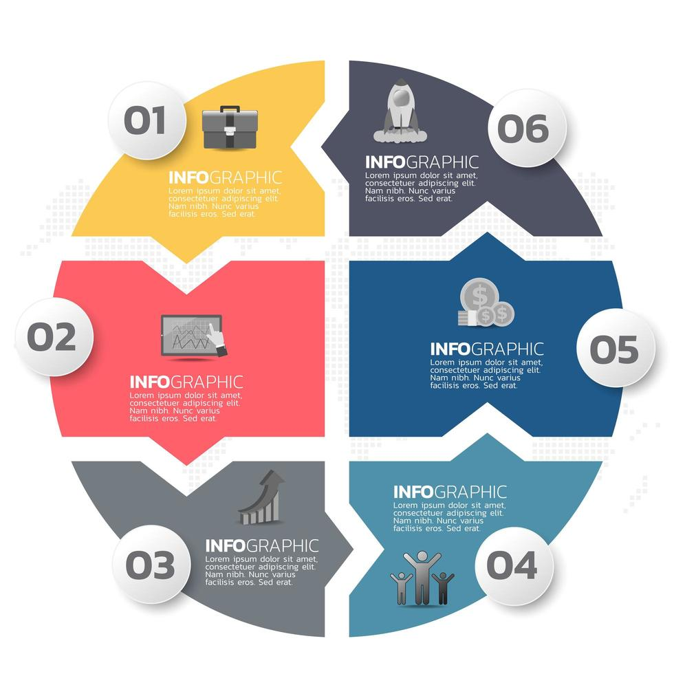 éléments infographiques commerciaux avec 6 sections ou étapes vecteur