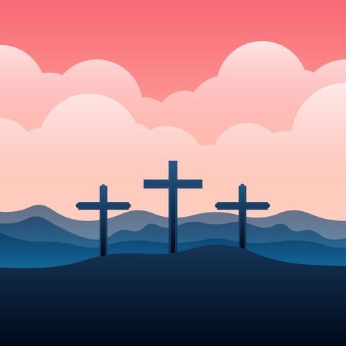 Calvaire et croix Illustration de paysage vecteur