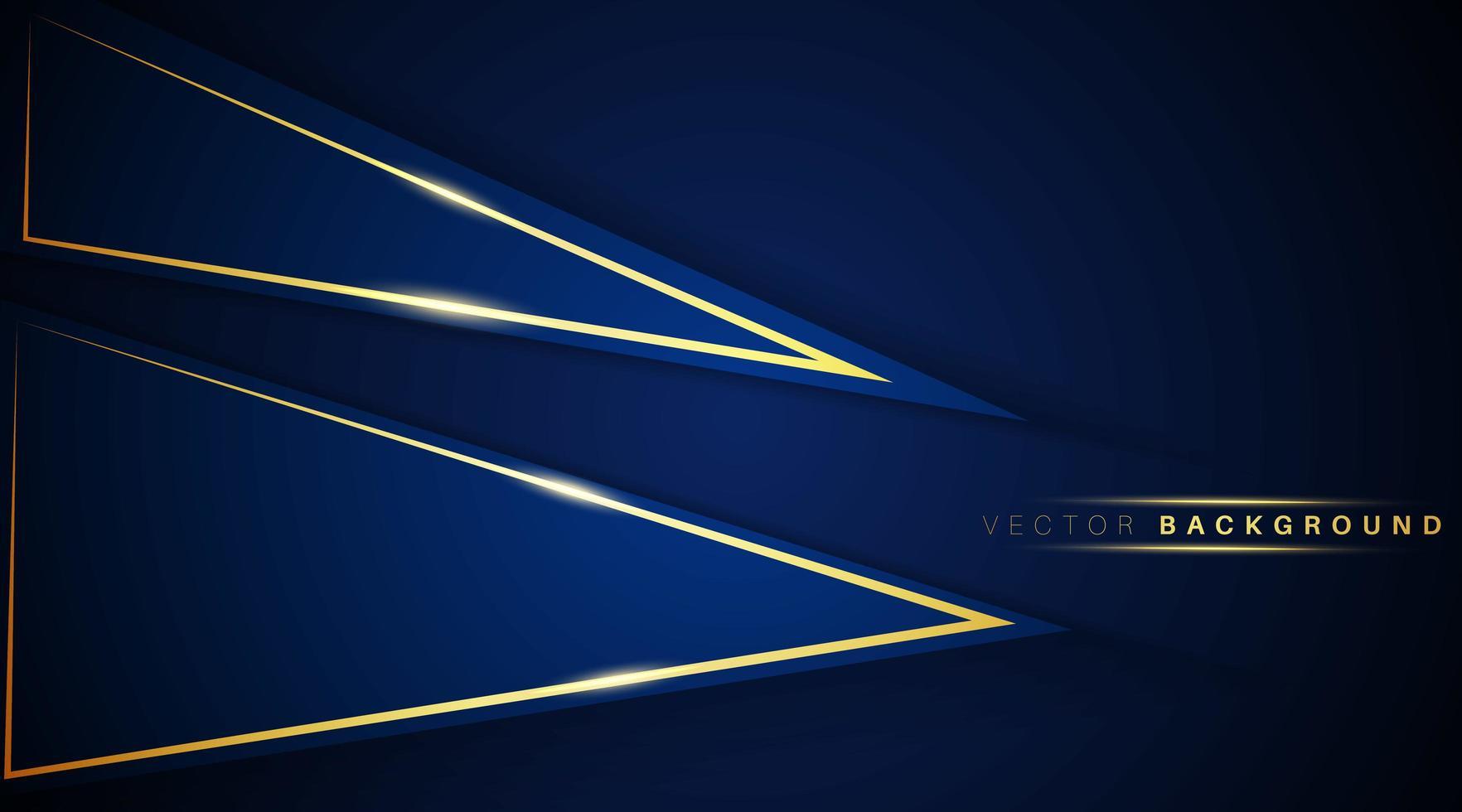 triangle qui se chevauchent forme bleu foncé avec fond effet de lumière or vecteur