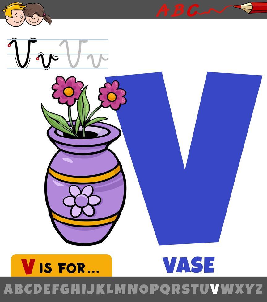 lettre v de l'alphabet avec objet de vase de dessin animé vecteur