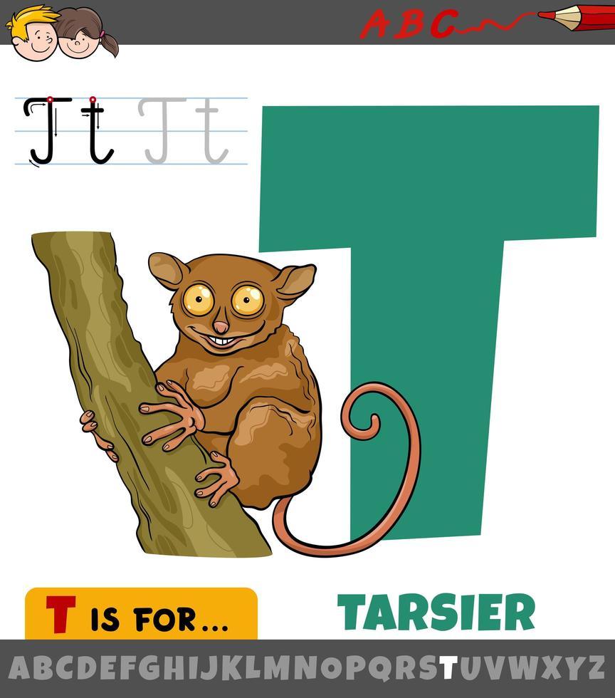 feuille de calcul lettre t avec tarsier de dessin animé vecteur