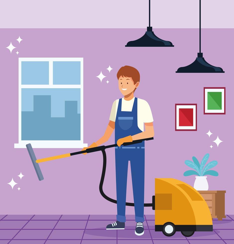 homme de ménage travailleur avec aspirateur vecteur