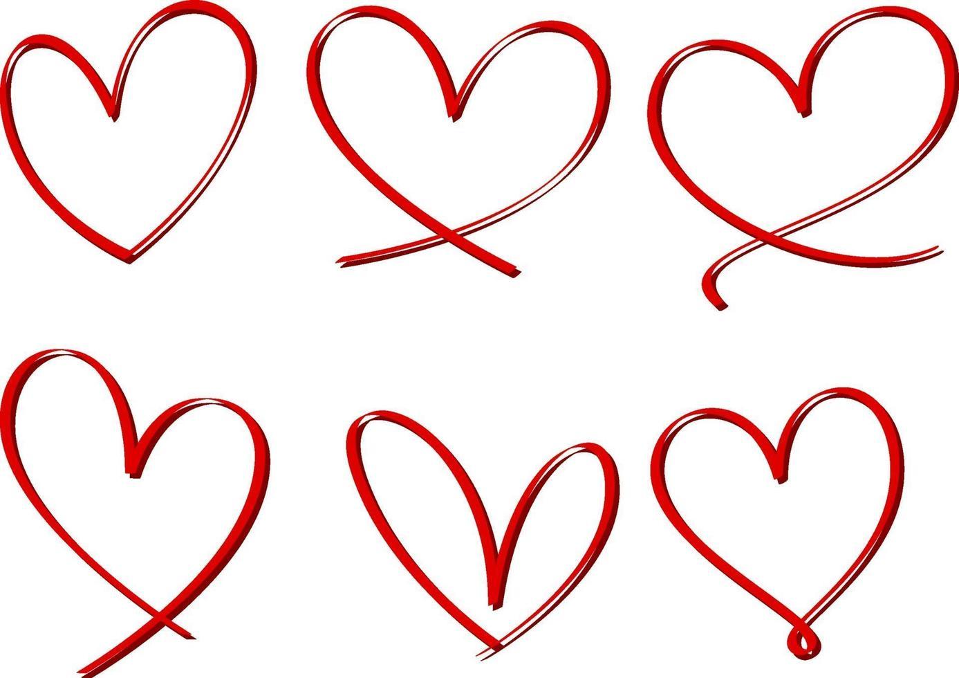 ensemble de coeur dessiné à la main isolé vecteur