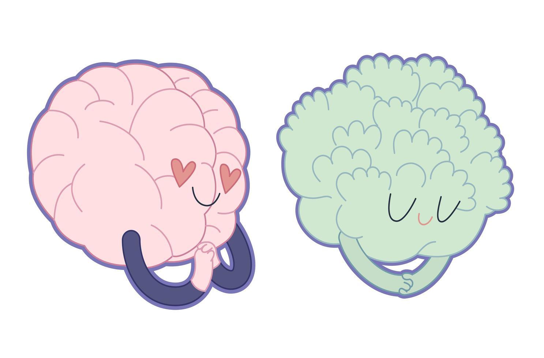 aime le brocoli, collection de cerveau vecteur
