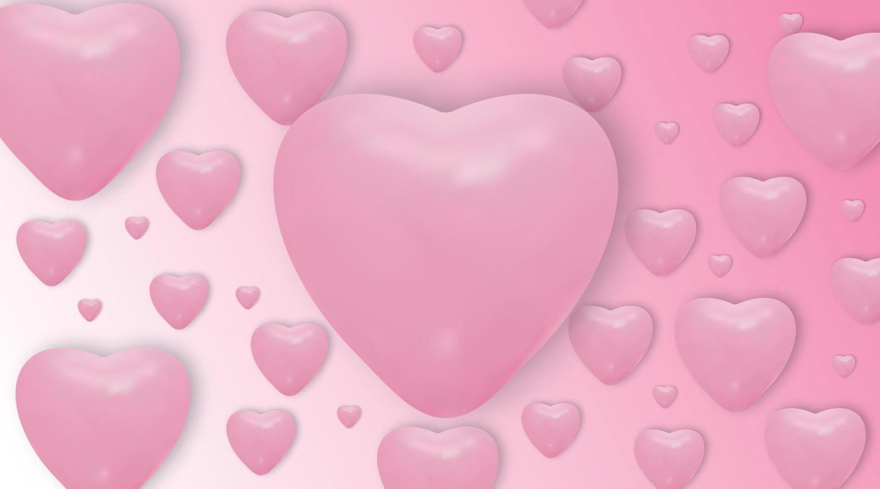 ballons coeur rose sur fond rose. vector ballons réalistes .valentines jour fond de vecteur.