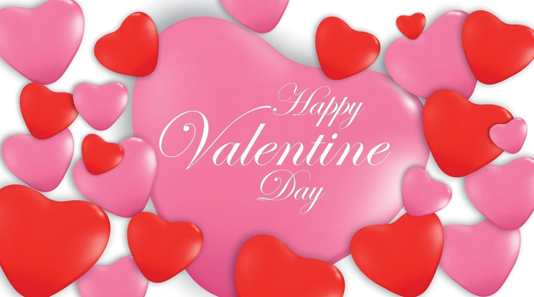 Bannière de félicitation joyeuse Saint Valentin avec des formes de coeur 3d rouge et rose - illustration vectorielle vecteur