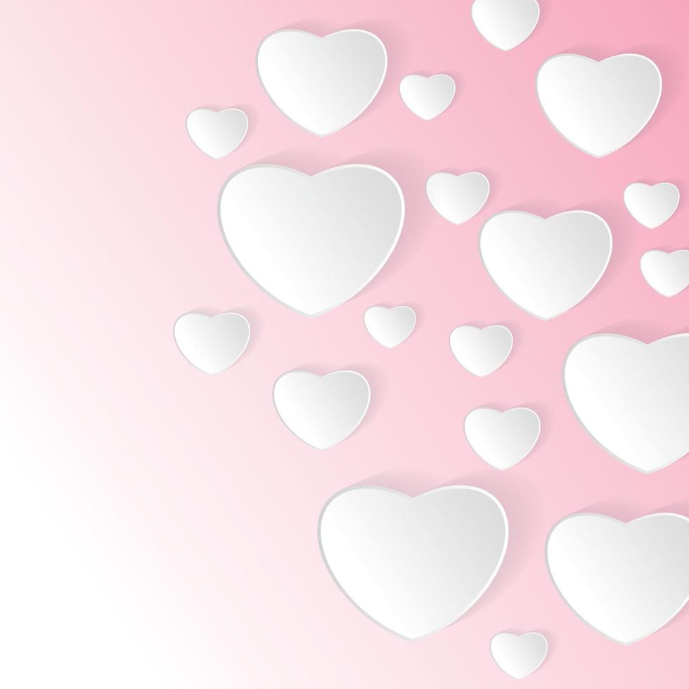 papier de vecteur Saint Valentin avec fond rose. conception de coeur et illustration vectorielle de nuage