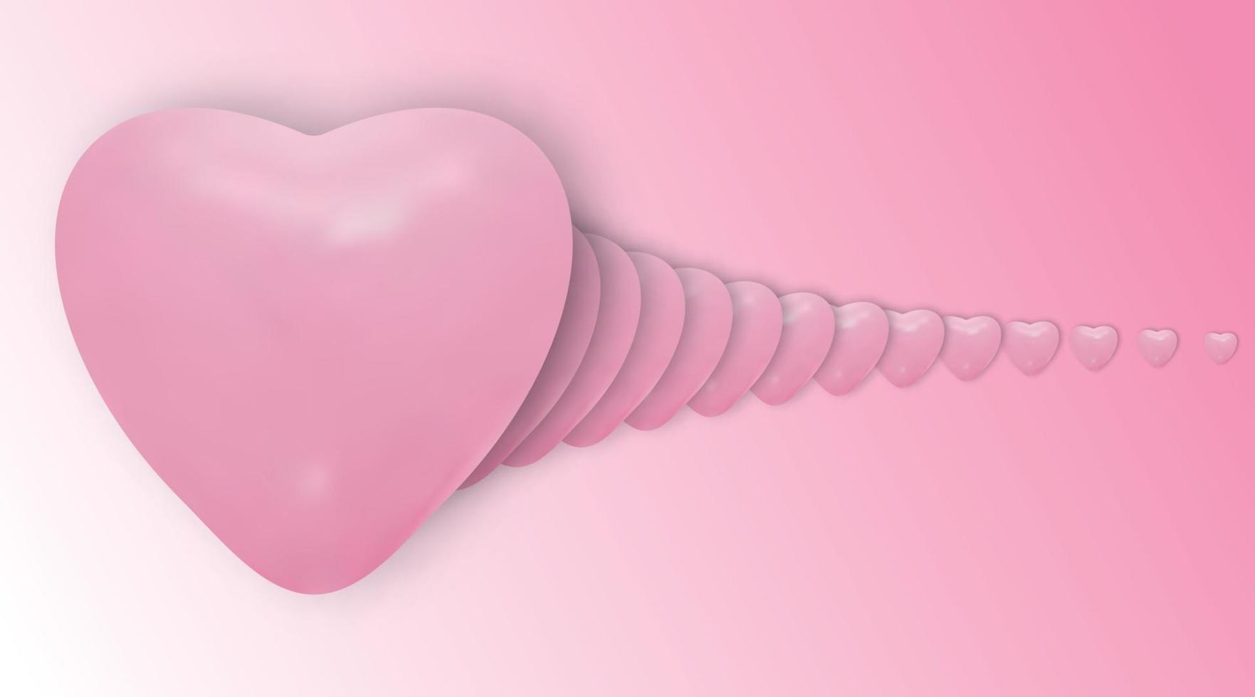 fond de vecteur de Saint Valentin. illustration vectorielle de ballons de conception 3d coeurs roses qui se chevauchent