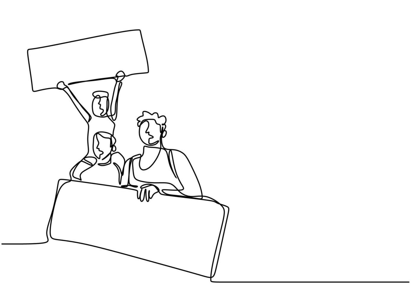 un dessin au trait continu d'un manifestant. deux personnes en démonstration tenant un rouleau de papier vierge pour aspirer leur voix. militants protestent avec le concept de panneau vierge. illustration vectorielle vecteur