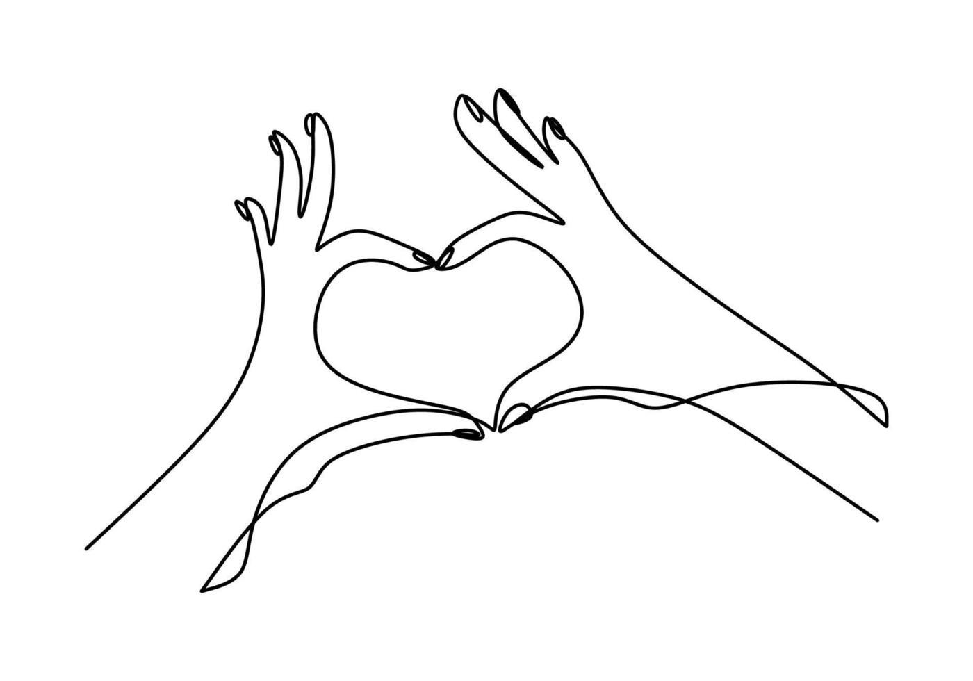 un dessin au trait continu de mains montrant un signe d'amour. main de femme donnant le symbole de l'amour avec la tenue de sa conception de minimalisme petit doigt isolé sur fond blanc. illustration vectorielle vecteur