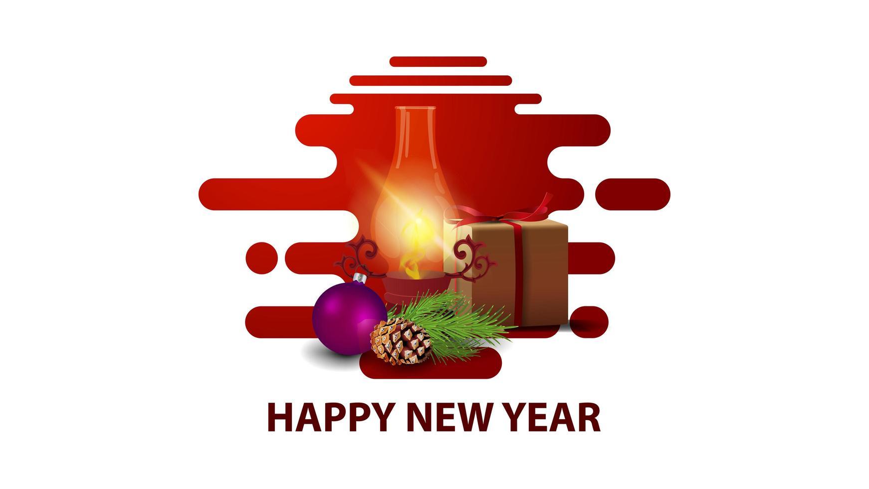 Carte postale de nouvel an moderne minimaliste blanc avec cadeau, lanterne vintage, branche d'arbre de Noël avec un cône et une boule de Noël vecteur