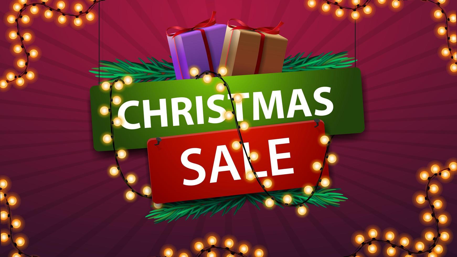 vente de Noël, bannière en style cartoon avec cadeaux et guirlande. vecteur