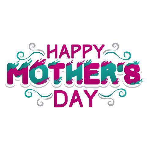 Carte de typographie heureuse fête des mères vecteur