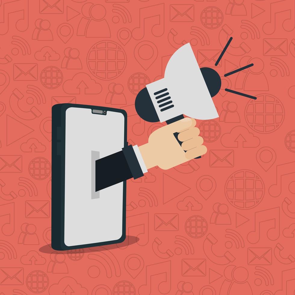 design plat de réseaux sociaux avec smartphone vecteur