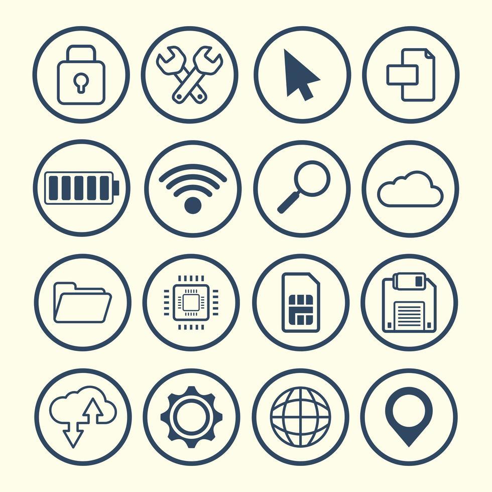 gadgets design plat et icônes de la technologie vecteur