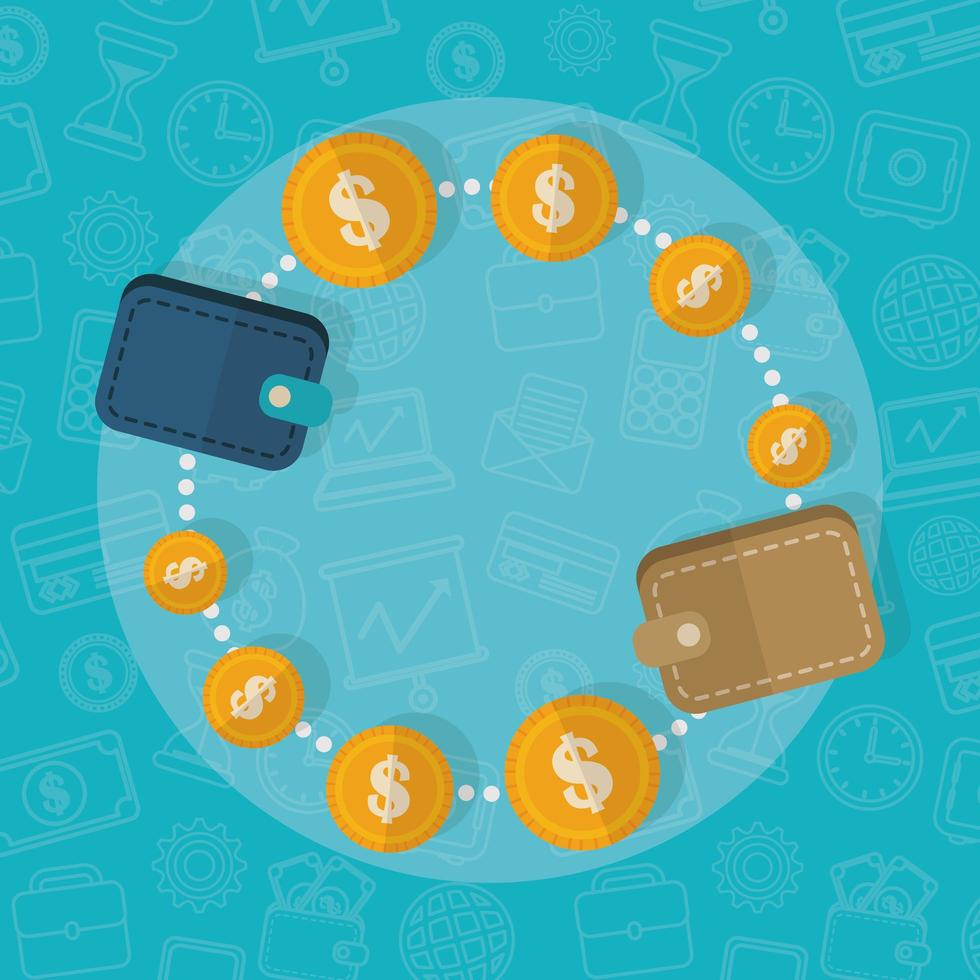 portefeuilles connectés, design plat concept finance vecteur