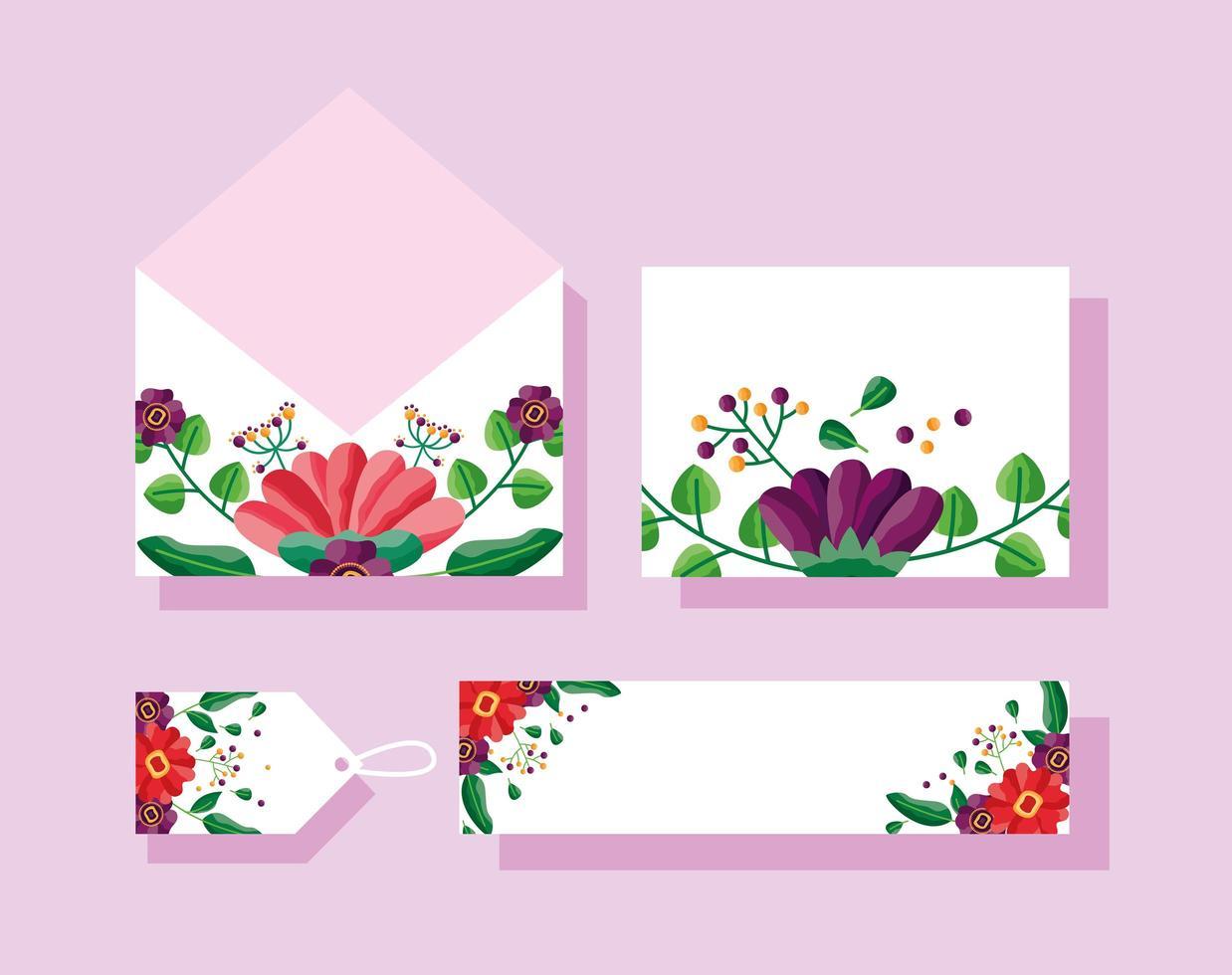 enregistrer la date ensemble de mariage floral vecteur