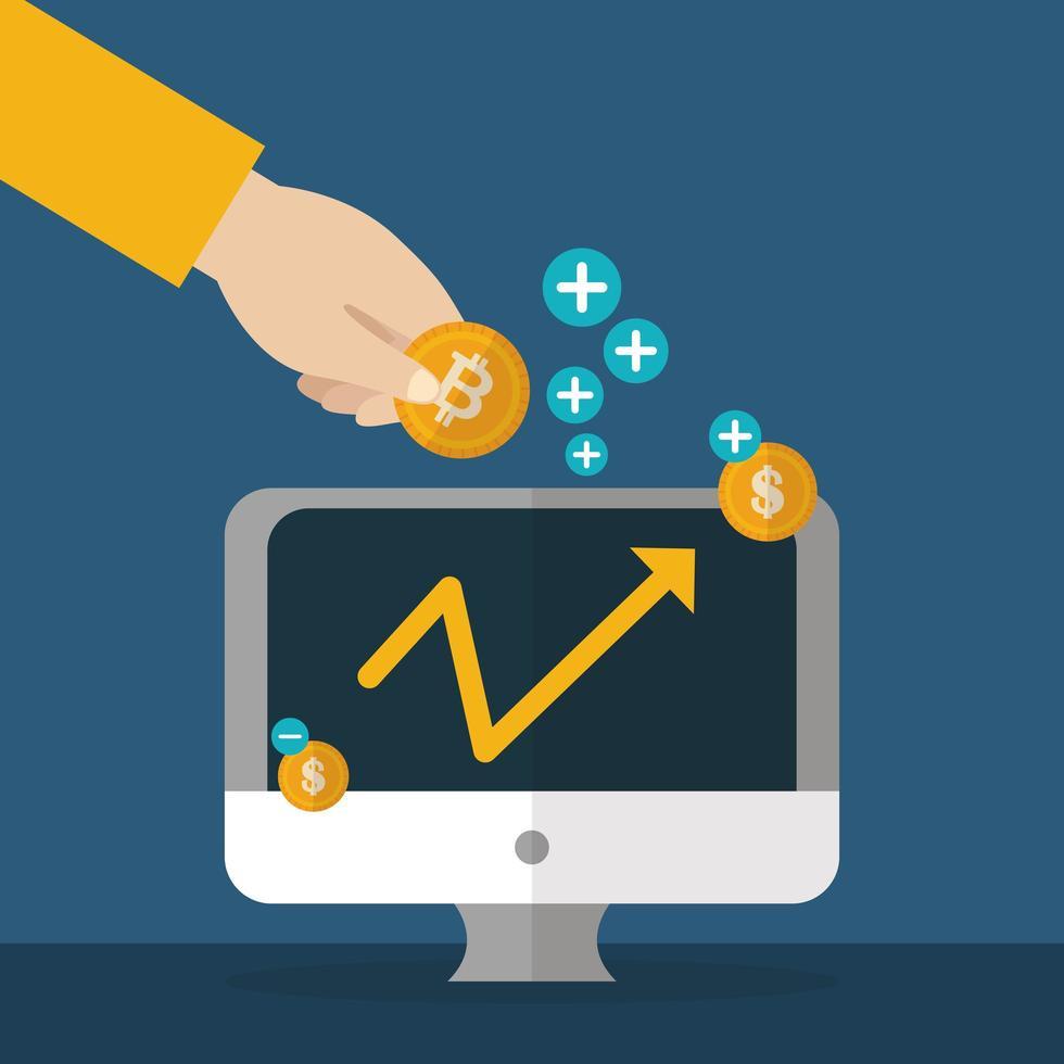 crypto-monnaie et dollar, design plat concept finance vecteur