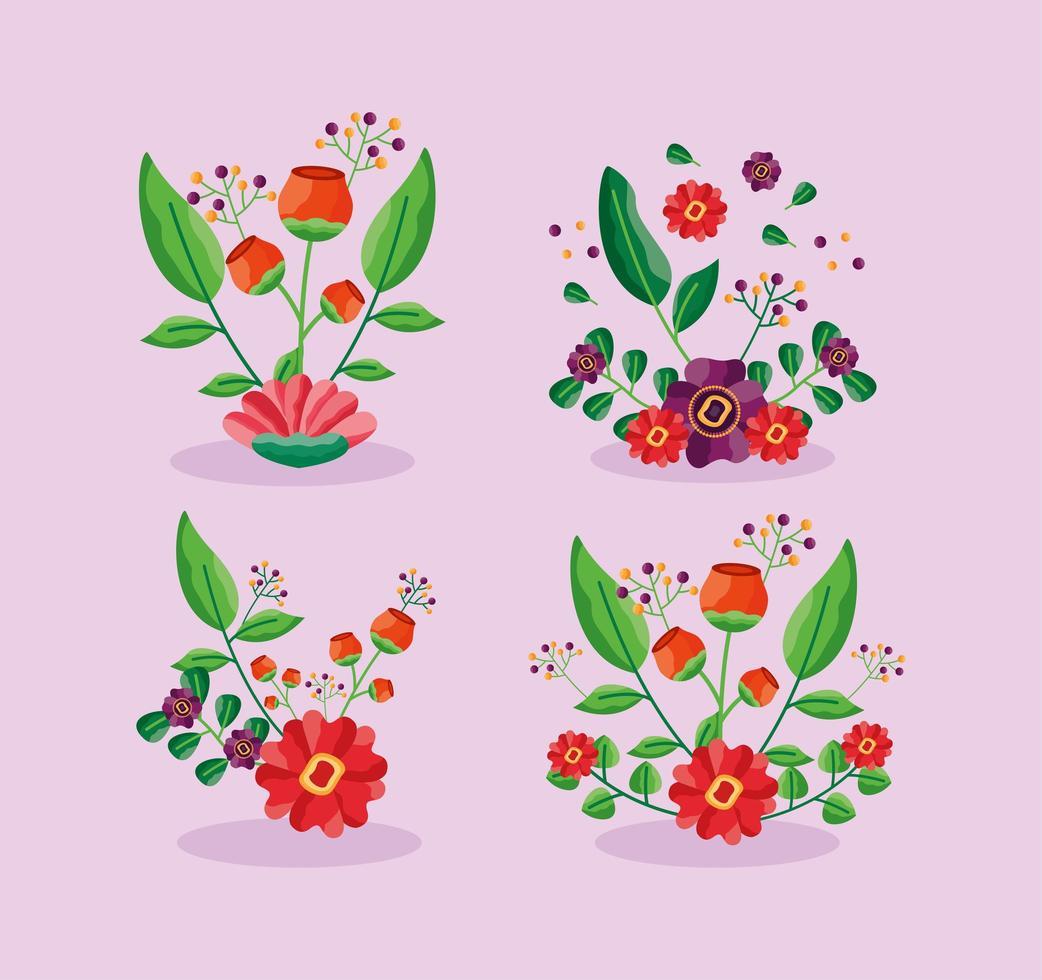 ensemble décoratif de fleurs et feuillages vecteur