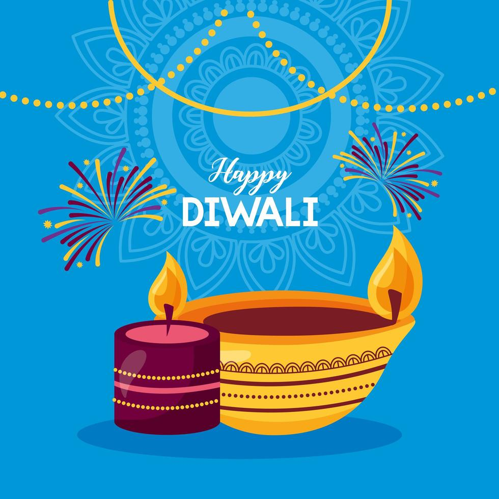 design plat affiche joyeux festival diwali vecteur