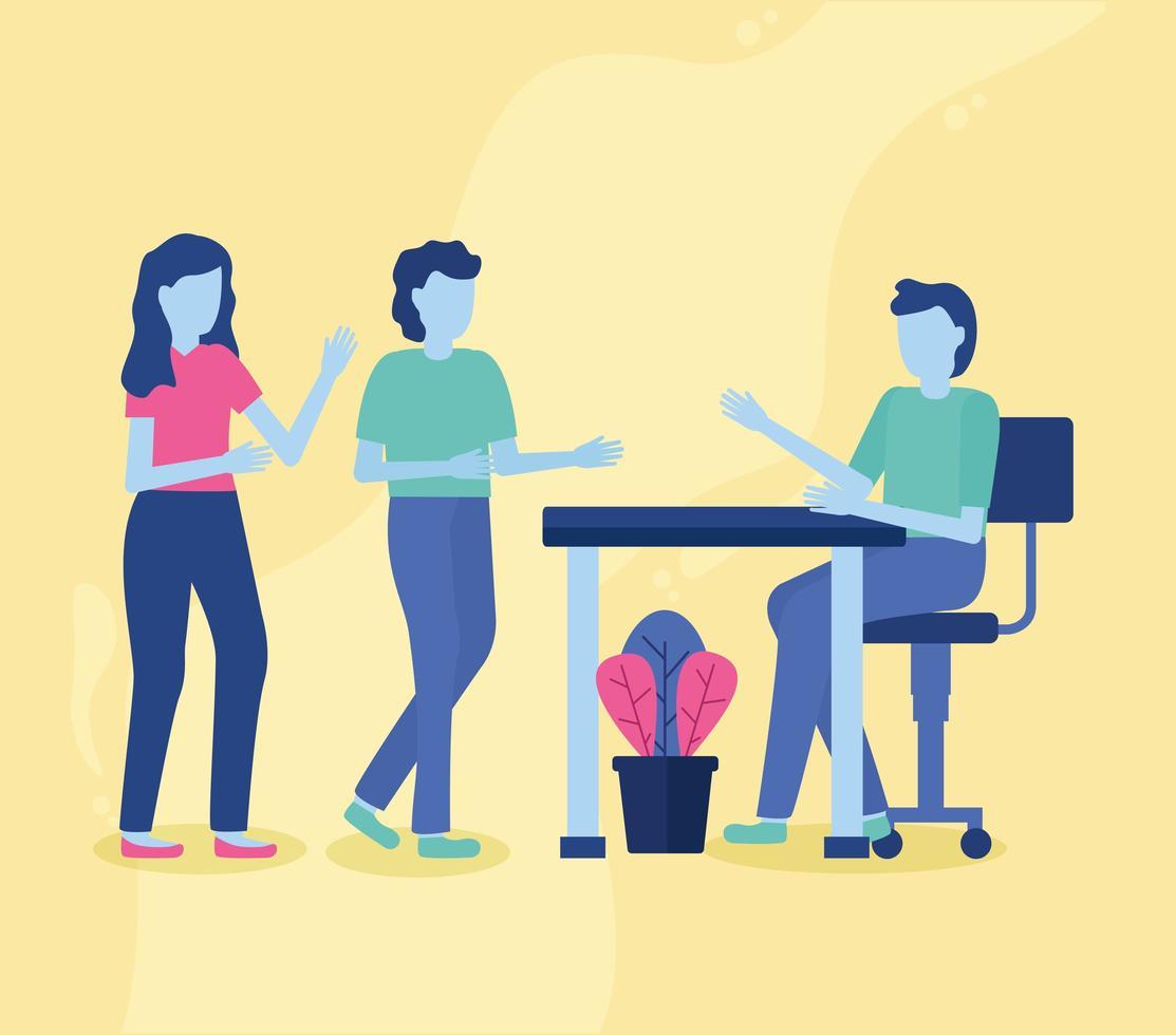 concept de co-working avec des personnes lors d'une réunion vecteur