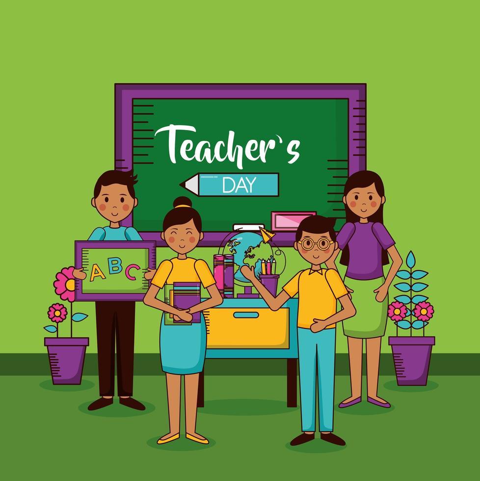 conception de célébration de la journée des enseignants heureux vecteur