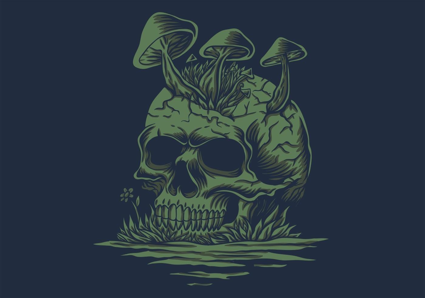 champignons de crâne en illustration vectorielle de rivière vecteur
