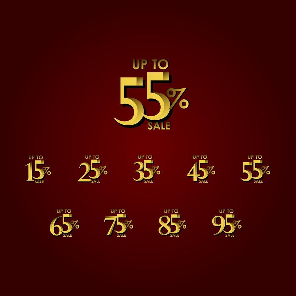 étiquette de vente discount jusqu'à 55% illustration de conception de modèle de vecteur or rouge