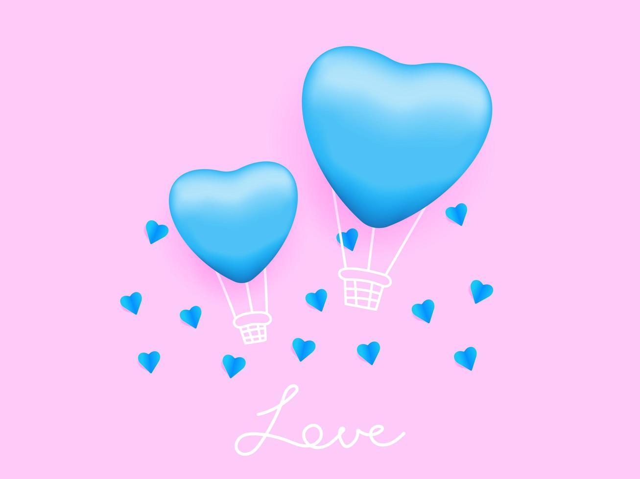 amour dans l'air, ballon en forme de coeur avec fond rose vecteur