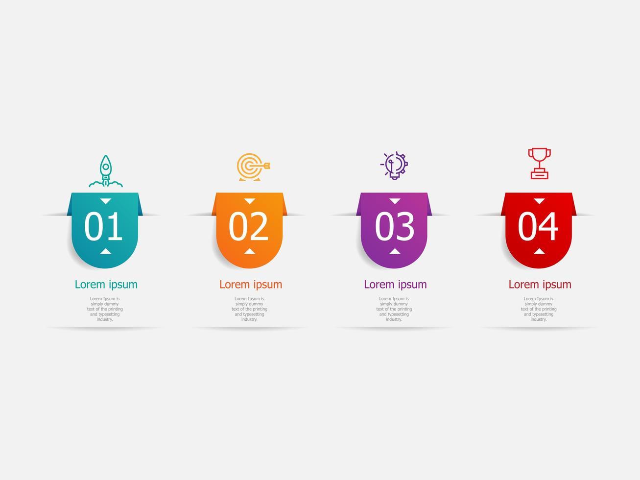 infographie horizontale abstraite 4 étapes pour les affaires et la présentation vecteur