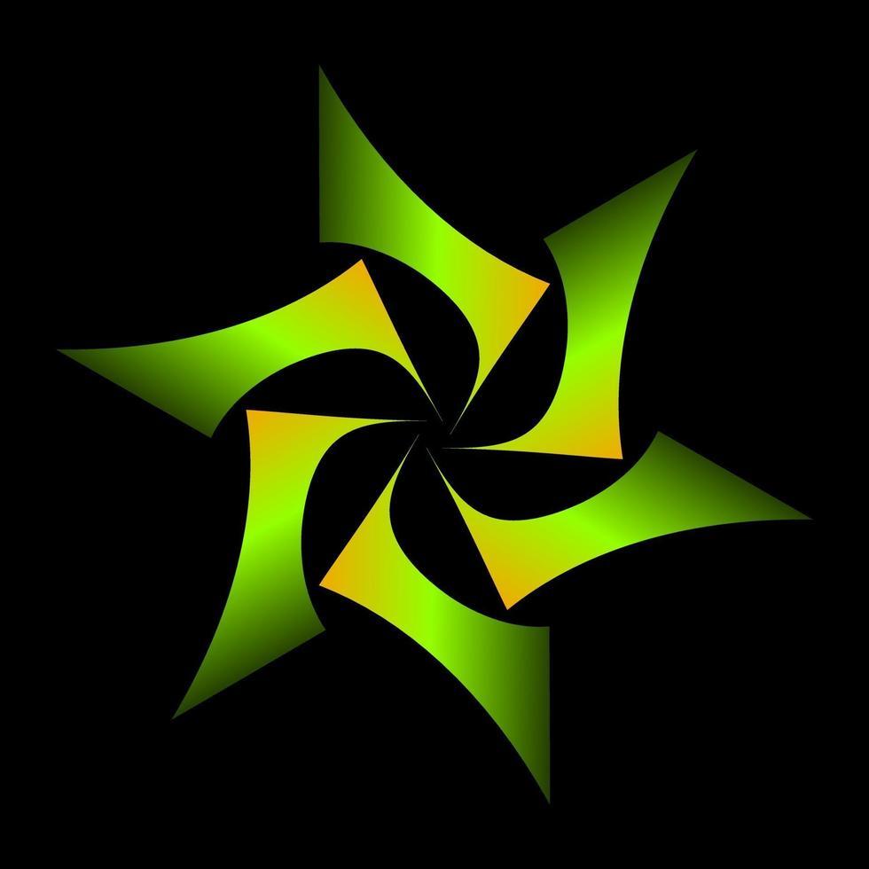 symbole d'étoile géométrique ombré de couleur jaune vert vecteur