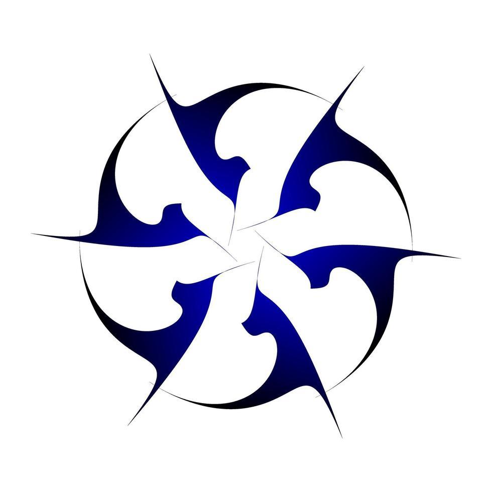 design créatif circulaire symétrique en bleu foncé vecteur