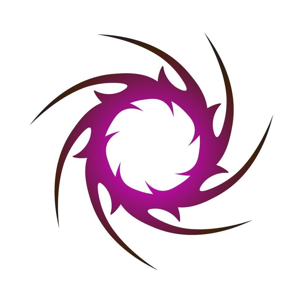 symbole créatif unique de cercle pointu enveloppé de couleur violet foncé vecteur