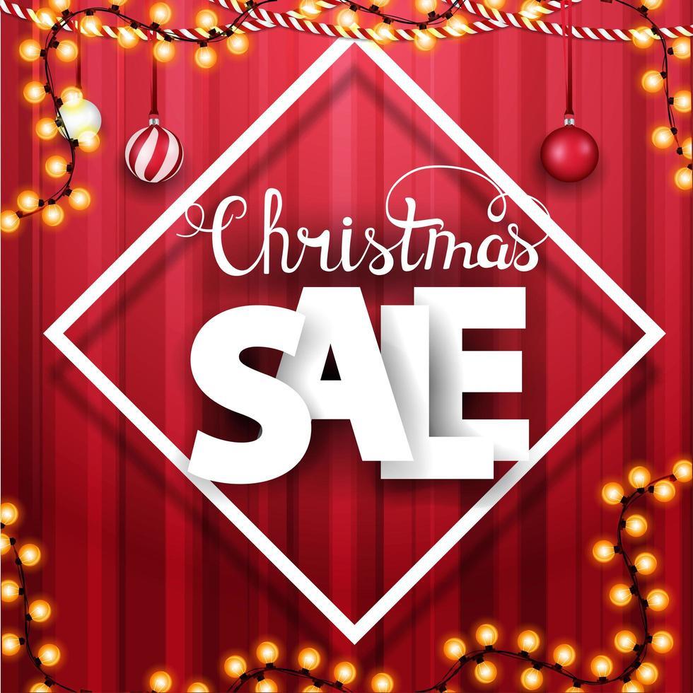 vente de Noël, bannière de remise carrée avec de grandes lettres volumétriques vecteur