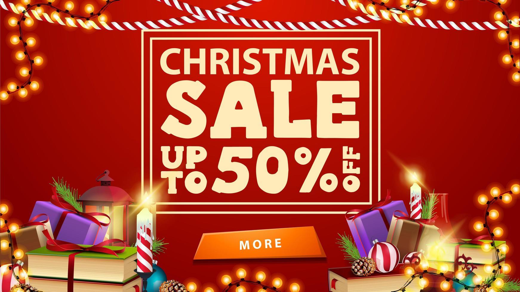 vente de Noël, jusqu'à 50 rabais, bannière de réduction rouge avec guirlande, bouton et cadeaux. vecteur