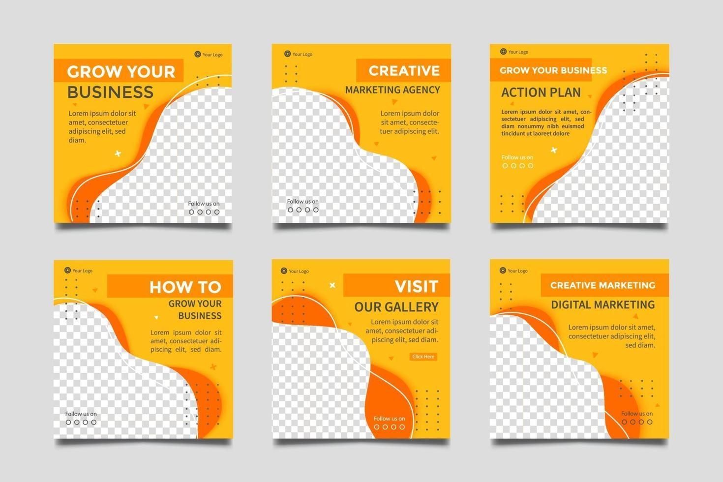 modèles de publication de médias sociaux d'agence de marketing numérique. vecteur