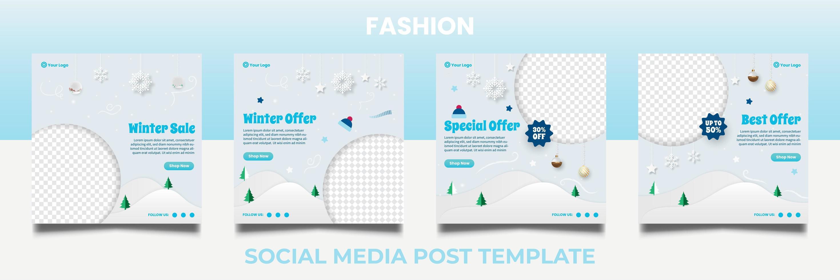 modèles de bannière carrée promotion vente hiver. vecteur