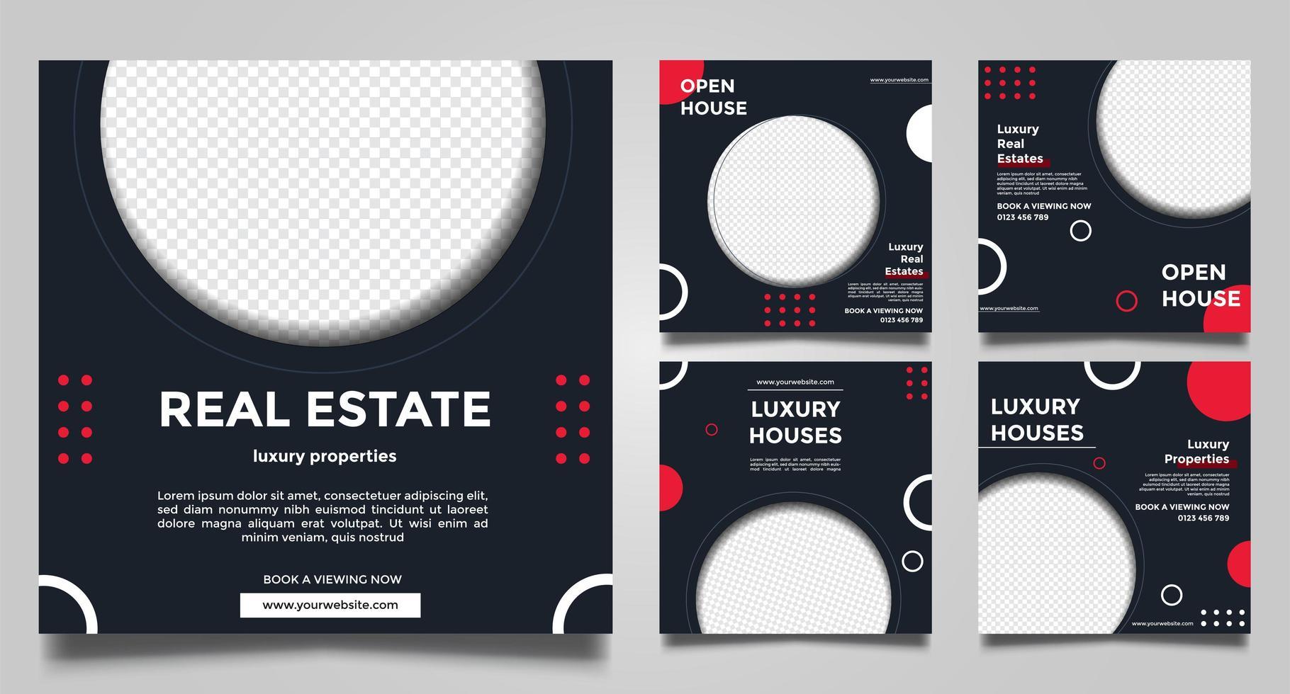modèles de médias sociaux de bannière carrée de promotion immobilière. vecteur