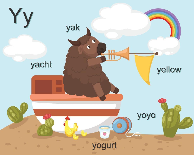 lettre de l'alphabet y, yak, yacht, yaourt, yoyo, jaune vecteur