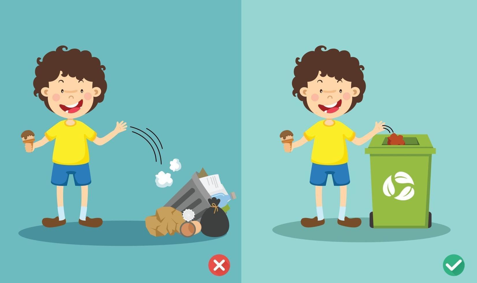 ne jetez pas de détritus sur le sol, mauvaise et bonne illustration vectorielle vecteur