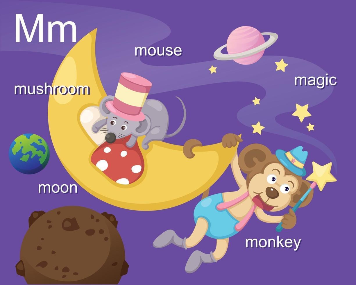alphabet.m lettre champignon, lune, souris, magie, singe vecteur