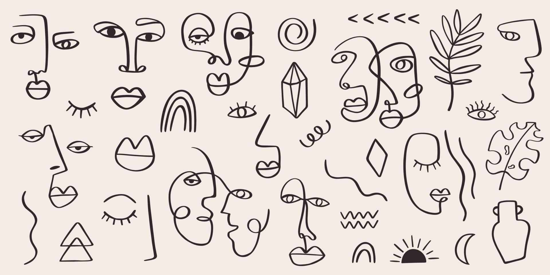 portrait de femme tribale abstraite situé dans l'art de la ligne continue. éléments contemporains de mode avec des visages féminins ethniques, des feuilles, des fleurs, des formes dans un style de peinture à l'encre moderne. concept esthétique minimaliste vecteur