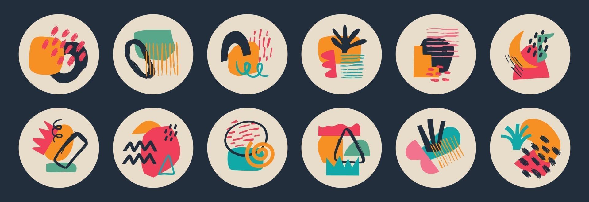 grand ensemble de diverses couvertures de surbrillance géométrique de vecteur. arrière-plans abstraits. diverses formes, lignes, taches, points, objets de griffonnage. modèles dessinés à la main. icônes rondes pour les histoires de médias sociaux vecteur