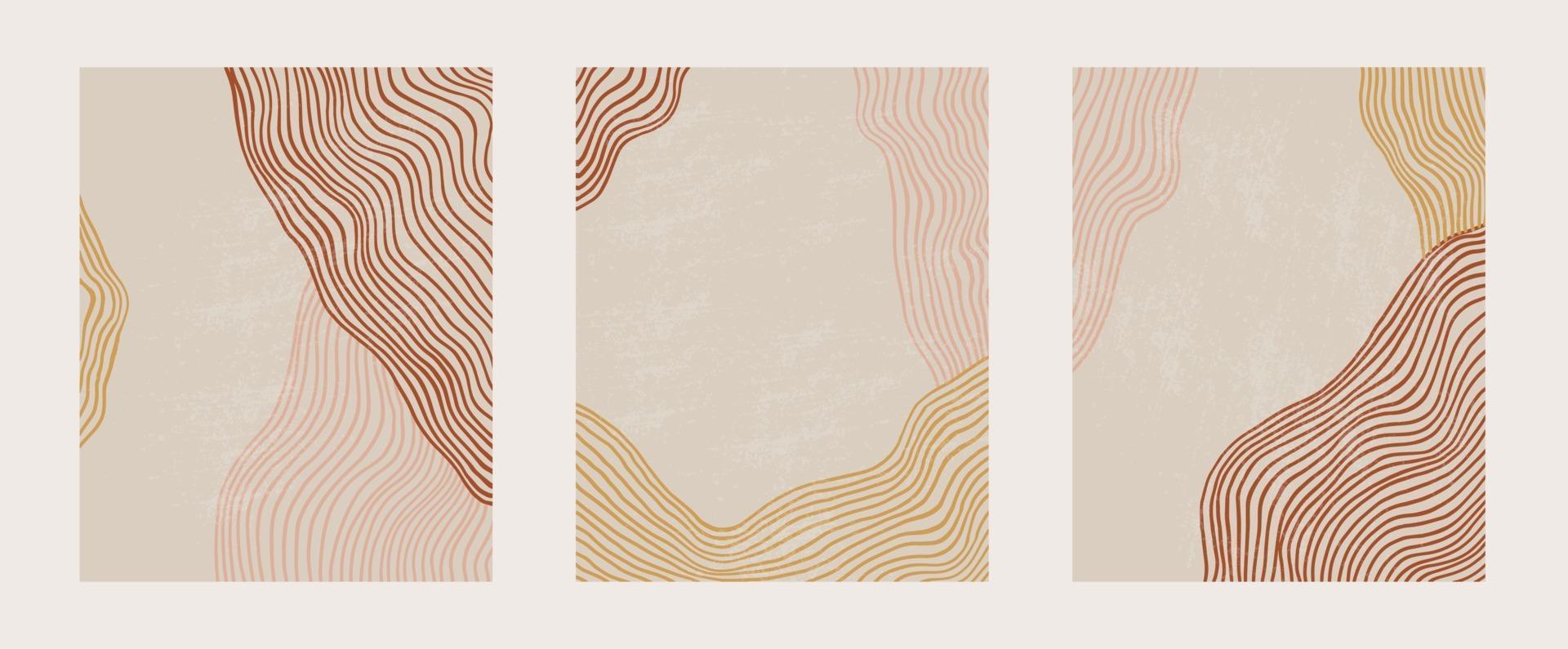 ensemble contemporain à la mode de modèle de paysage d'art composition abstraite géométrique minimaliste artistique peint à la main. affiches de vecteur pour la décoration murale dans un style vintage