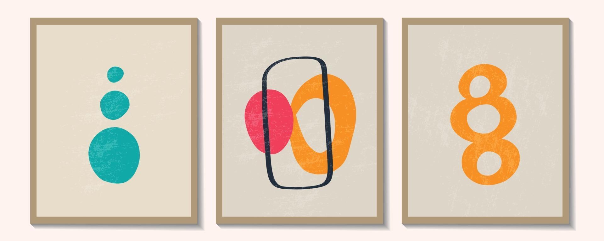 ensemble contemporain à la mode de composition peinte à la main artistique minimaliste géométrique créatif abstrait. affiches de vecteur pour la décoration murale dans un style vintage