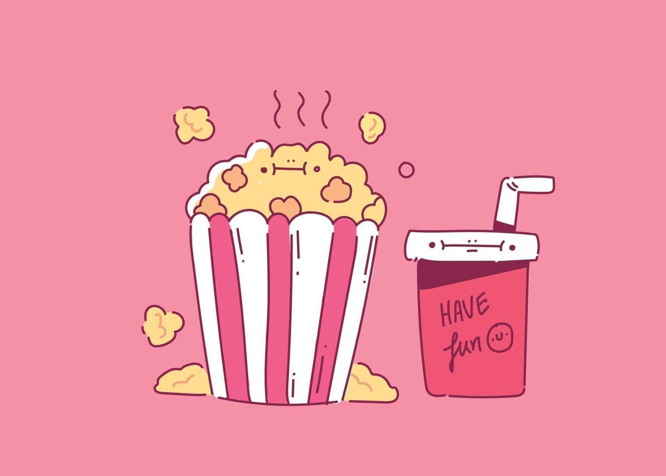 pop-corn avec un verre de boisson gazeuse pour l'illustration vectorielle de cinéma main style cinéma doodle vecteur