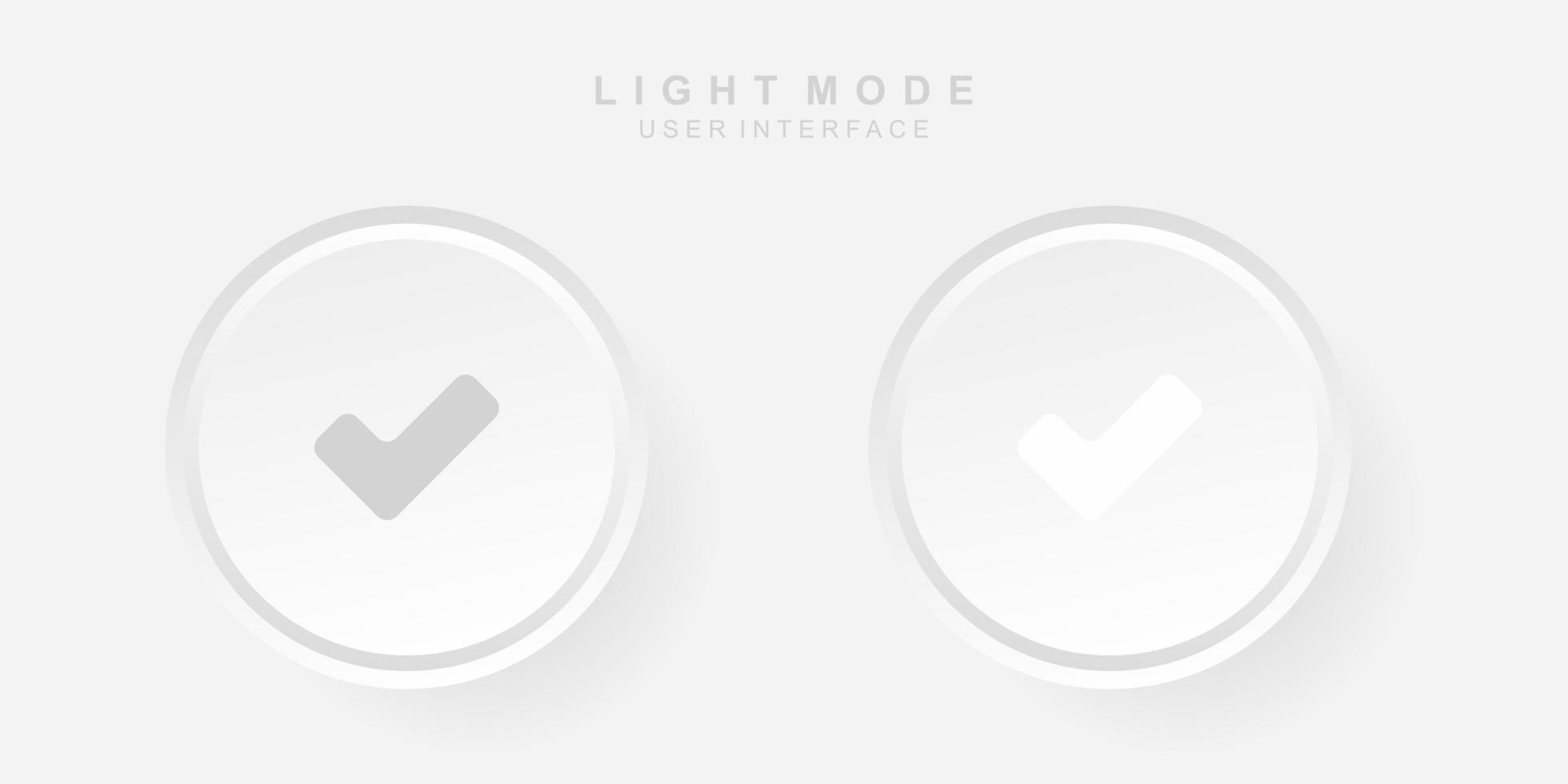 interface utilisateur simple et créative correcte dans la conception du neumorphisme. simple moderne et minimaliste. vecteur