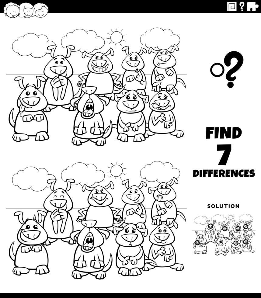 Activité éducative des différences avec la page du livre de couleurs des chiens vecteur